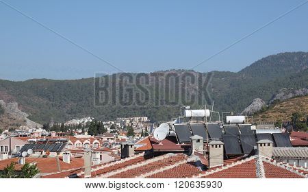 Solar Water Heating Systems On The Roofs Of The City Of Marmaris, Turkey
