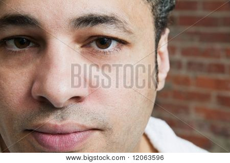 Close up portrait of man's face