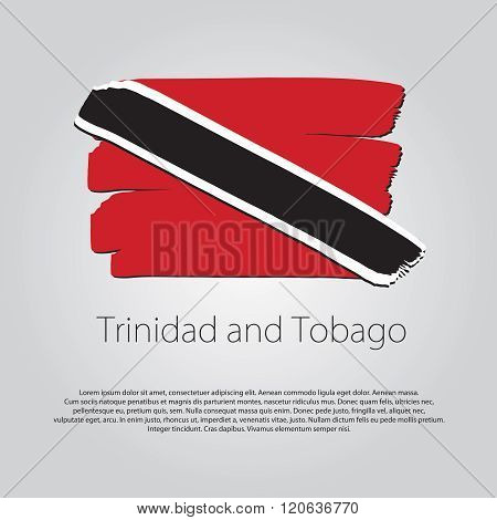 Trinidad And Tobago Flag With Colored Hand Drawn Lines In Vector Format
