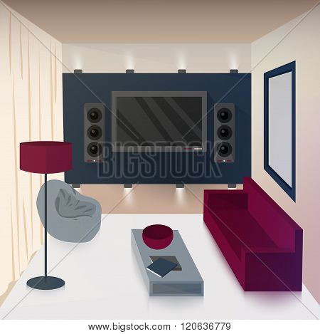 Modern Interior Of Living Room With Tv And Hi-fi Technologies