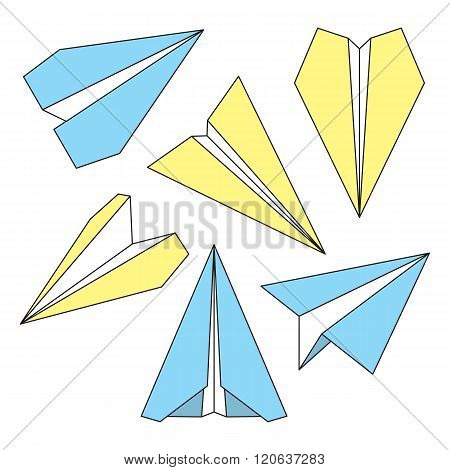 Paper plane navigational thin line icons set. Collection of paper origami airplane symbols. Six vector icons of papercraft planes. EPS8 vector illustration.
