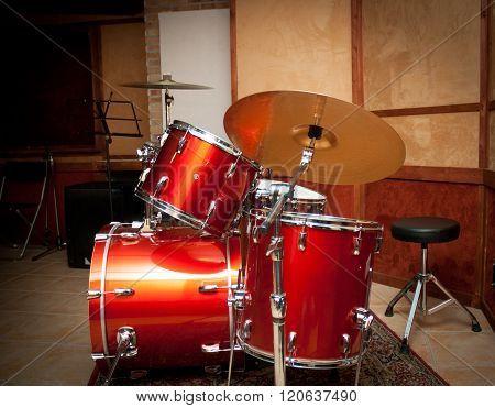 Red Drum Instrument In Studio