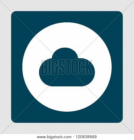 Cloud Icon, On White Circle Background Surrounded By Blue