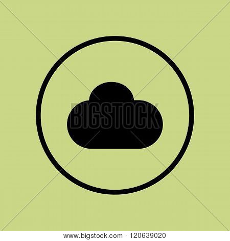 Cloud Icon, On Green Background, Circle Border, Dark Outline