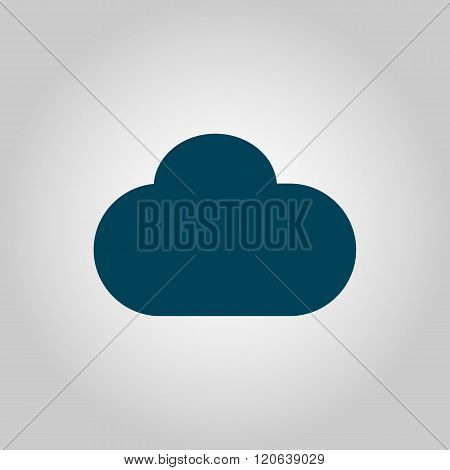 Cloud Icon, On Grey Background, Blue Outline, Large Size Symbol