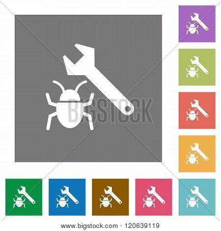 Bug Fixing Square Flat Icons