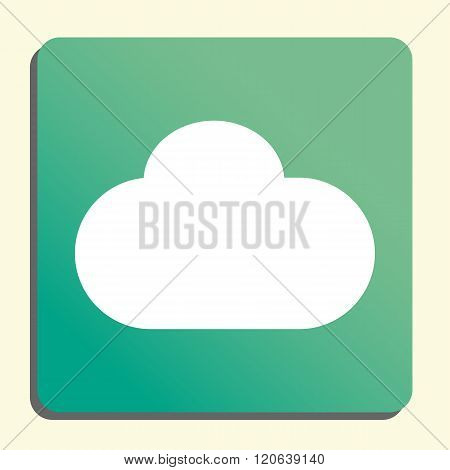 Cloud Icon, On Button Style Green Background, Yellow Light, Shadow