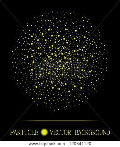 Abstract Shpere Of Yellow Glowing Light Particles Space Black Background. Atomic Explosion Design. S