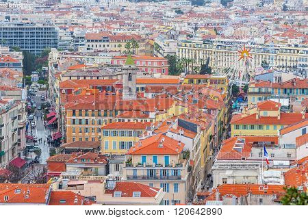 Nice, France - March 3, 2016: View of old center of Nice. Cote d'Azur French Riviera.