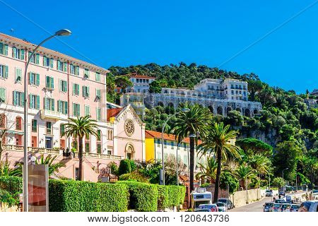 Nice, France - March 3, 2016: View of beautiful landscape with Mediterranean luxury resort. Villefranche-sur-Mer Nice Cote d'Azur French Riviera.