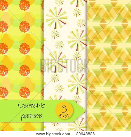 Abstract geometric seamless patterns set. Beautiful geometric patterns. Set of unique seamless geometric patterns. Versatile seamless background