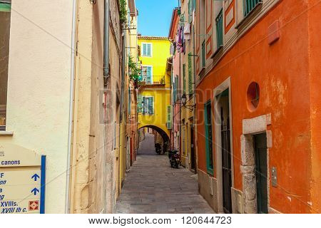 Villefranche-sur-Mer, France - March 3, 2016: View of streets. Villefranche-sur-Mer Nice Cote d'Azur French Riviera.