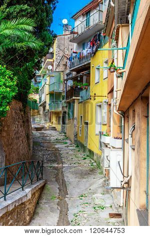 View Of Streets. Villefranche-sur-mer, Nice, French Riviera.