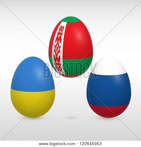 Easter Eggs Set Flags Colors