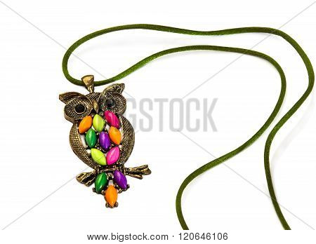 Owl Necklace With Coloured Stones On White.