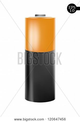 Orange battery icon - vector illustration.