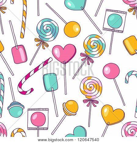 Vector Doodle Lollipops Pattern. Sweet Food Hand Drawn Illustration