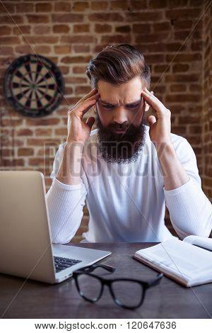 Bearded Businessman Working