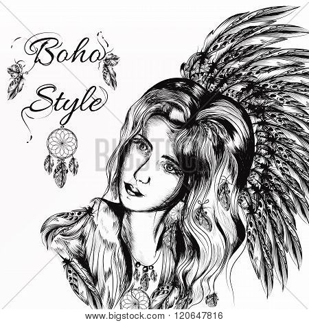 Beautiful Dreamy Longhaired Girl Weared In Boho Style Clothers With Feathers And  Hand Drawn Dream C