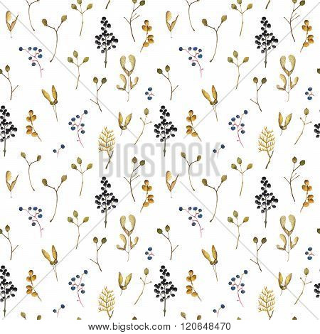 Seamless floral pattern. Background with branch and berries.
