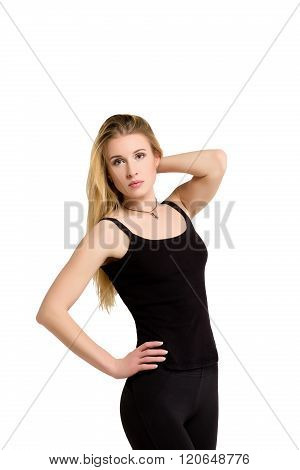 Slim isolated woman, weight-loss, good shape