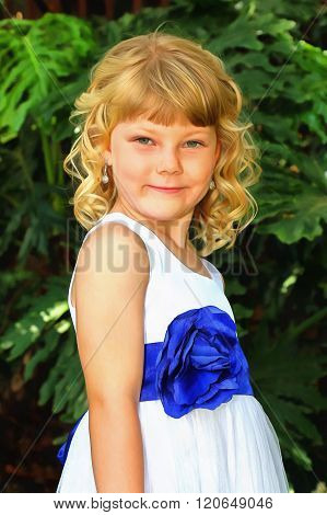 Painting Of Adorable Little Blond Girl Posing In Dress