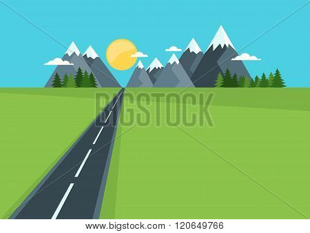 Beautiful Country Highway In Field And Mountains.