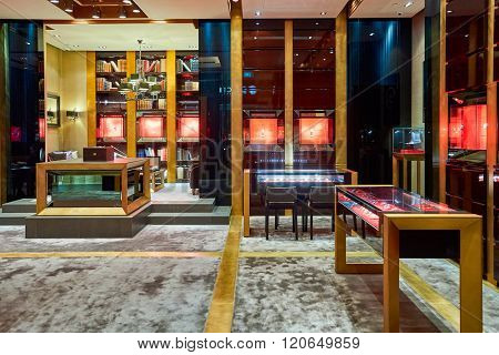 SINGAPORE - NOVEMBER 08, 2015: interior of Roger Dubuis store. Roger Dubuis is the brand name of luxury watches and jewellery founded by Carlos Dias and Roger Dubuis