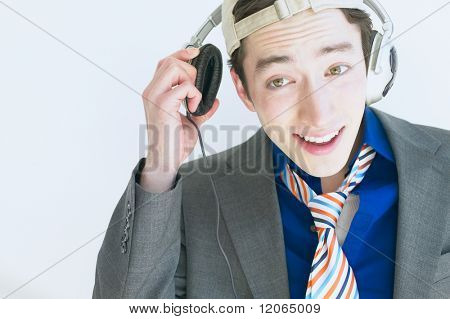Man wearing headphones and listening to music