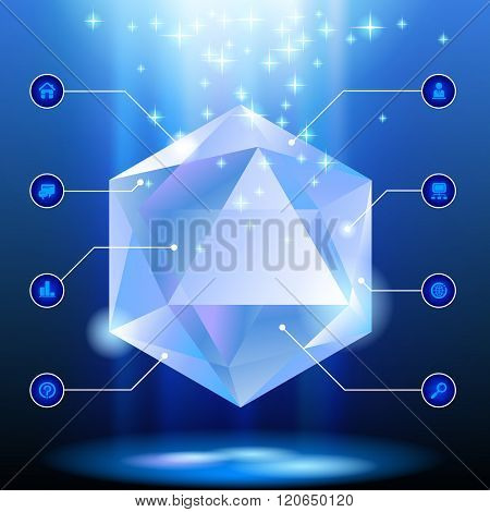 Diamond shaped Template with web icons in blue light on dark background