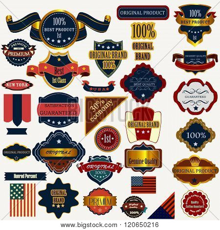 Collection Or Set Of Vector Labels Ribbons In Vintage Style Quality
