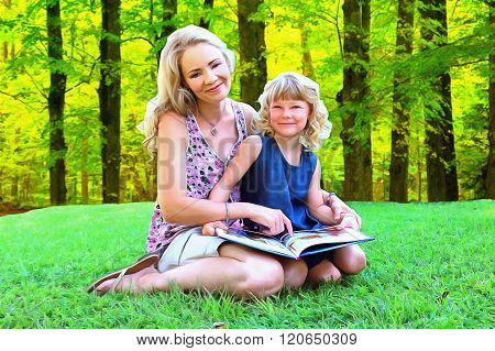 Painting Of Lovely Mom And Daughter Reading Outdoors
