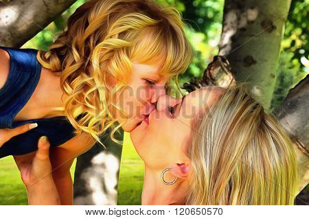 Painting Of Mom And Daughter Loving Kiss