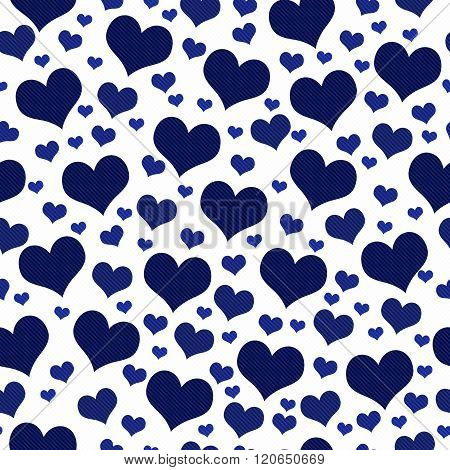 Navy Blue And White Hearts Tile Pattern Repeat Background