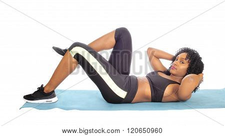 African American Woman Doing Exercises.