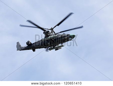 MOSCOW - MAI 9: Modern russian attack helicopter Ka-52 with rockets bombs guns -  on Mai 9, 2015 in Moscow