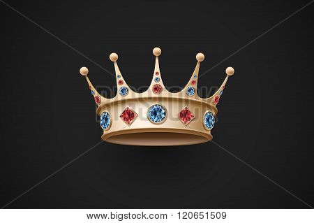 Gold royal crown with red and blue diamand