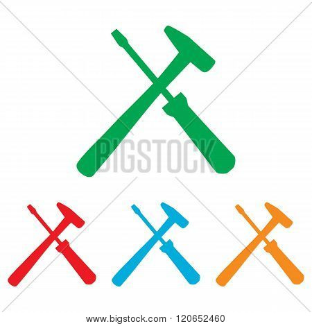 Tools sign. Colorfull set