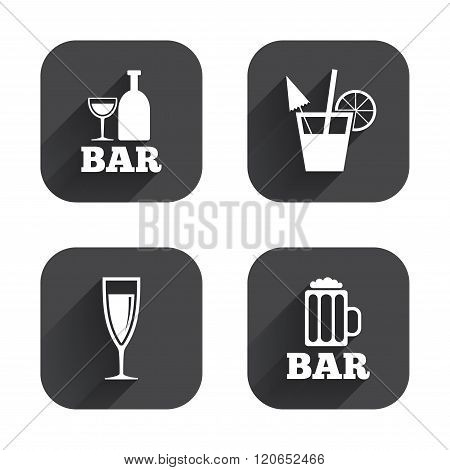 Bar or Pub icons. Glass of beer and champagne.