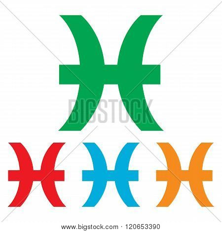 Pisces sign. Colorfull set
