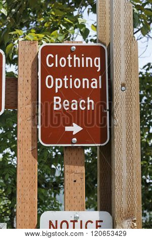 Clothing Optional Beach Sign Outside