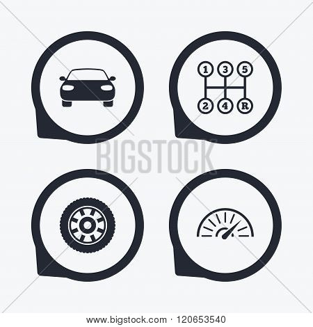 Transport icons. Tachometer and wheel signs.