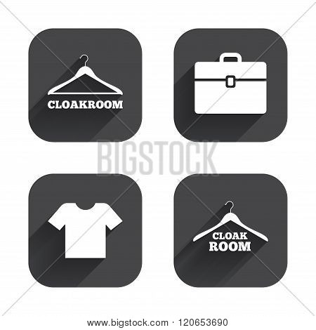 Cloakroom signs. Hanger wardrobe icons.