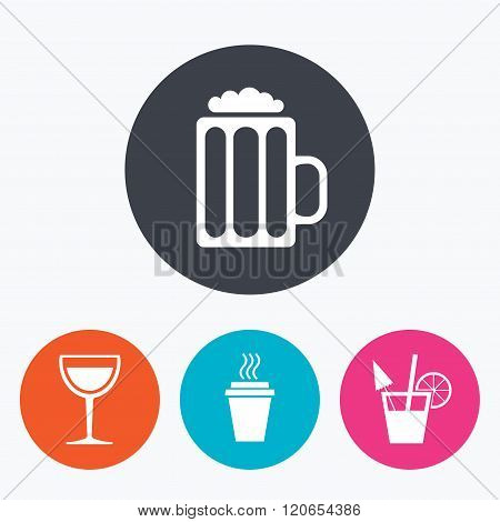 Drinks signs. Coffee cup, glass of beer icons.