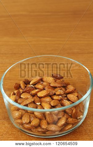 Maple Glazed Almonds In A Glass Bowl