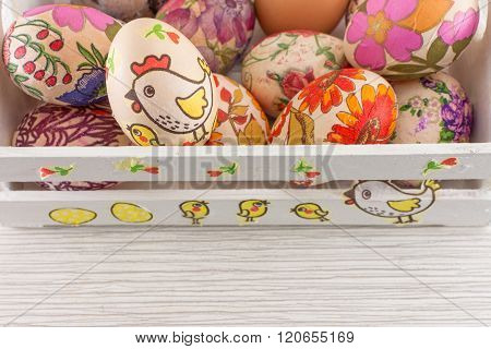 Decoupage Decorated Easter Eggs In Decorated Wooden Box