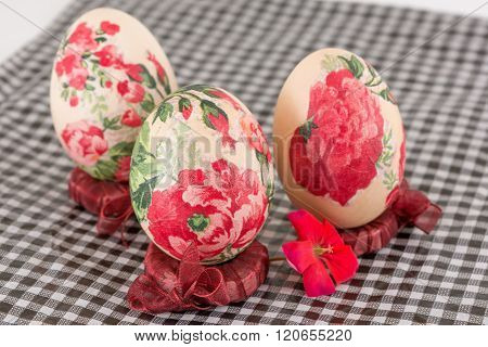Colorful Decoupage Decorated Easter Eggs