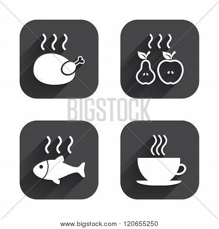 Hot food icons. Grill chicken and fish symbols.