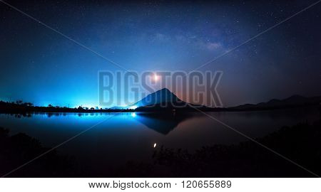 Milky Way rises over the lake