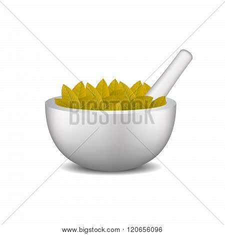 Mortar with pestle and brown leaves